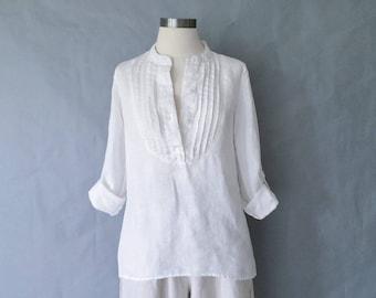 Vintage 100% linen tunic/blouse/shirt/top women's size S/M