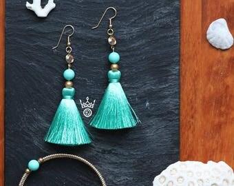 summer fashion gold Swarovski crystal turquoise dangle jewelry gold pearl jewelry earrings tassel chandelier earrings long blue earrings