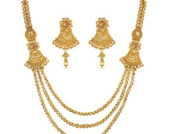 Gold Rani Haar Set - Long Necklace - Indian Bridesmaid Gift, Indian Jewelry, Indian Wedding Jewellery, Gold Indian Jewelry, Earrings Set