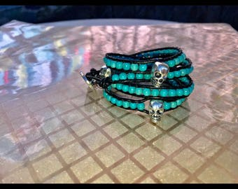Turquoise skull bead leather multi wrap bracelet chan luu style