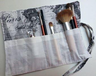 eiffel tower/paris cosmetic/brush roll