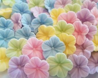 30 Edible Sugar Paste Fondant Pastel Petunia Flowers Birthday Wedding Anniversary Party Cake Cupcake Toppers