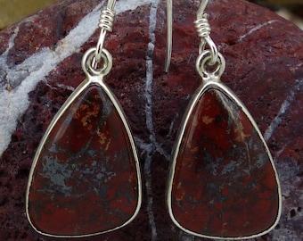 Scottish Red Jasper Medium sterling silver drop earrings, FREE WORLDWIDE DELIVERY, Two Skies (8027)