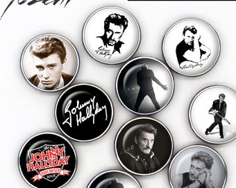 """Snap Button """"Johnny Hallyday"""", Chunks, Charms interchangeables, Noosa style"""