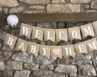 Customizable Burlap Baby Shower Banner  Decorations   Pink Baby Shower    Rustic Baby Shower