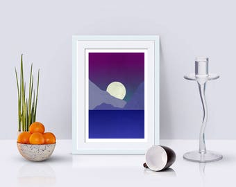 Landscape Wall Art, Full Moon Over Mountains Minimalist Art Print, Living Room Decor, Home Decor, Modern Art, Abstract Landscape
