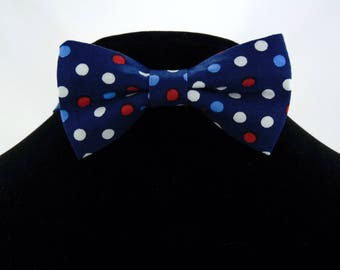 Blue Bow Tie, Blue Bowtie, Mens Bow Tie, Mens Bowtie, Polka Dot, Red, White, Navy, Fathers Day, Birthday, Gift, Wedding, Prom, Dots, Dad