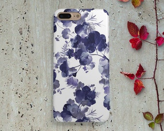 iPhone Case Blue Flowers, iPhone 6 Case Pattern, iPhone 6S Case, iPhone 6 Plus Case, iPhone 5 Case, iPhone 5 Case, Phone Case Samsung S7