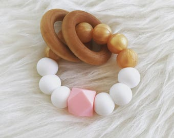 Cotton Candy, Gold & White Silicone Baby Teething Ring with 2 wood rings