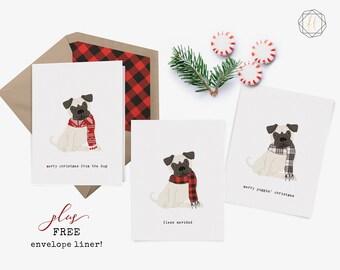 Pug Lover, Pug Merry Christmas, Dog Lover Gift, Pug Christmas Card, Pug Holiday Card, Christmas Card Pug, Pug Christmas Card Set, Pug Print