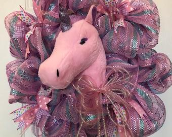 Unicorn Deco Mesh Wreath, Girls Bedroom, Pink wreath, Unicorn Decor, Girl Christmas Gifts