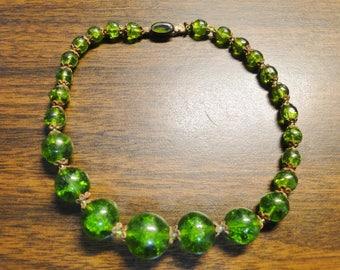 """Vintage Green Peridot Beaded Bracelet - 11"""" -  Very Old - Dark Green - Nice Find"""