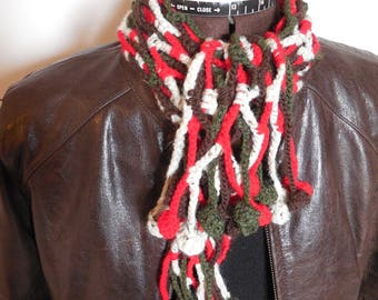 Multicolored crocheted cowl