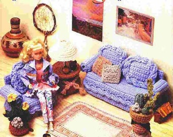 345. Barbie fashion doll living room' furniture -crochet pattern in pdf
