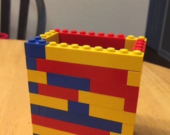 Custom Mutlicolor Lego Pencil Holder!! Perfect for organizing a desk or art space!!