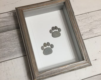Pebble Art Paw Prints ~ unique dog lover's gift, unique cat lover's gift, veterinarian art gift, cat memorial gift, unique dog memorial gift