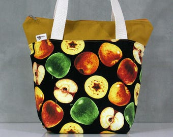 Apple Lunch bag, Waterproof tote, Canvas Cotton Lunch bag, Reusable Lunch bag, Handmade bag, Tote, Gift