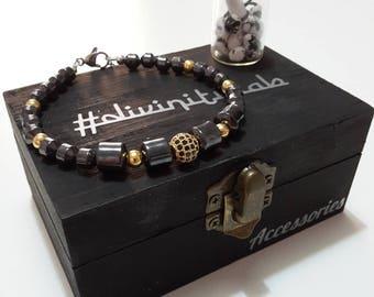 Hematite and Steel Bracelet