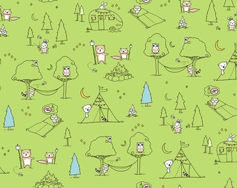 Ink & Arrow Camp S'More, Animal Camp Scenic in Green,  Camping Quilt, Modern Quilt, Modern Fabric, Fun Fabric