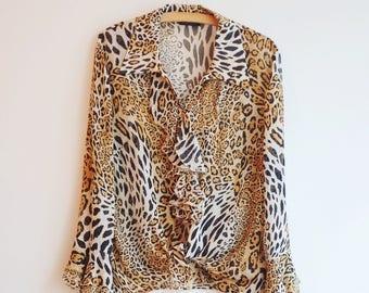 Vintage leopard animal print hippie boho blouse S/M