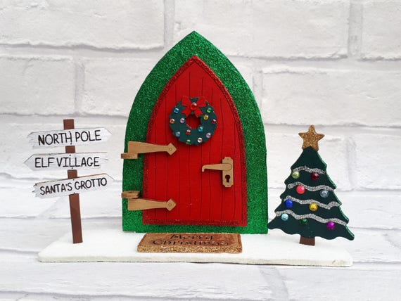 Opening fairy door handpainted christmas north pole door for Elf door decoration