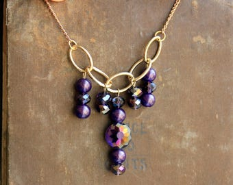 Purple Bead Statement Necklace