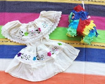 Little girl off shoulder traditional Mexican dress, size 6-12 months