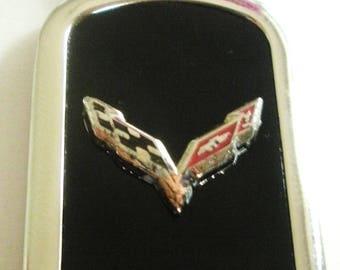 Corvette C7 Onyx & Silver Keychain-Free Engraving