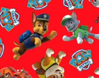 Red Paw Patrol Toss Fleece Fabric Nick Jr - nickelodeon anti-pill polyester kids girls boys by the yard metre PW4017MA1