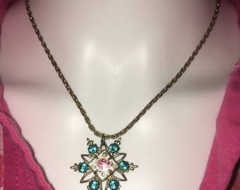 SALE Vintage 50s Necklace with Blue Rhinestone & Flower Star Pendant