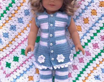 Crochet Blue and White Tights, Top, and Hat summer set For American Girl and 18 Inch Soft Body Dolls