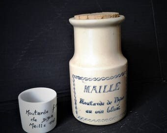 French Stoneware Mustard Jar & Bonus little Pot