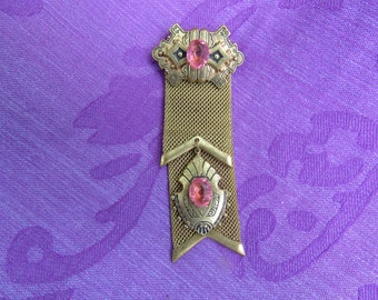 Unique, Antique, Victorian, Gold Medal style pin with pink rhinestone, brooch,