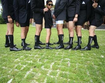 Printed Groomsmen Socks - Set of 9 Wedding Socks for Groomsmen - Groom Socks - Wedding Socks - Groomsman Socks - Fun Groomsman Gift