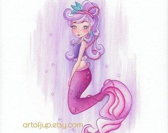 ON SALE Mermaid decor, watercolor mermaid painting print, mermaid wall art, mermaid Pearl