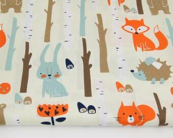 Cotton Fabric, Tissu renard, ours, écureuil, lapin, hérisson, 100% coton imprimé 50 x 160 cm, forêt, automne, fond jaune