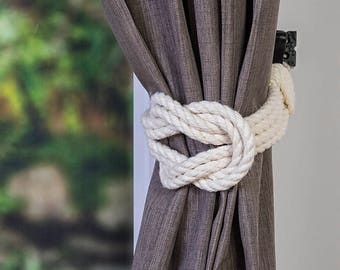 Cotton Rope Double Square Knot Nautical Curtain Tie-Backs/ Shabby Chic Ivory White Curtain hold-Backs / Nursery Window Treatment / Rope Ties