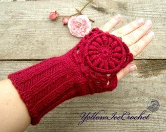 Marsala knit fingerless gloves winter gift wife gloves wool christmas gift knit mittens Marsala mittens knitted accessory handwarmer