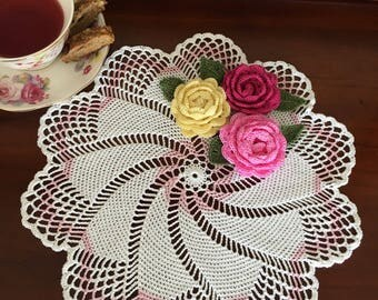 Rose Quartz Pinwheel Doily - Farmhouse Doily - Rustic Decor - Housewarming Gift - Coffee Table Decor - Crochet Lace Doily - Wedding Gift