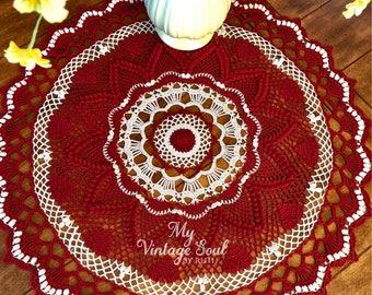 Burgundy Lace Doily - Heart Doily - Farmhouse Decor - Pineapple Crochet Doily - Wedding Gift - Dining Room Decor - Round Crochet Doily