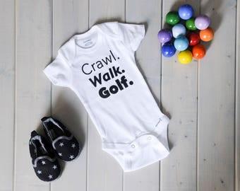 Golfing Baby Onesie, Crawl. Walk. Golf. SoDak Baby White Onesie, Baby Fashion, Golf Baby Shirts