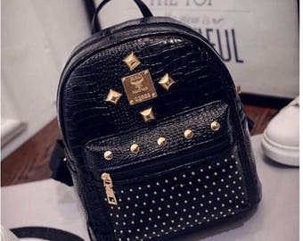 Black PU leather mini backpack