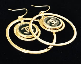 DESIGNER LOGO BUTTON, repurposed to create a new pair of earrings, Inspired by Chanel C816-17