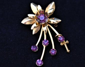 Vintage Delicate Flower Spray Brooch Coat Sweater Pin Cross Charm Purple Rhinestone Gold Tone Mid Century Retro Costume Estate Jewelry 1.75""