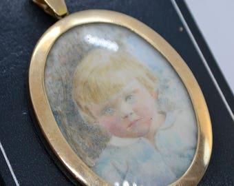 Fine Edwardian 9CT GOLD Miniature PORTRAIT Young Blond Blue Eyed CHILD Pendant