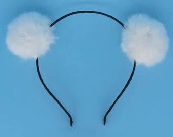 White Puff Pom Pom Headband