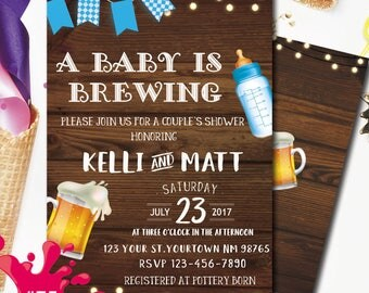 Beer and Babies Party Invitation, A Baby is Brewing Invitation, co ed baby shower invite, beer baby shower invitations, Brewing Baby Shower