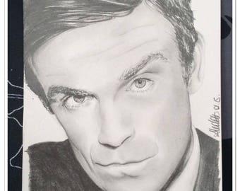 graphite pencil portrait of Robbie Williams