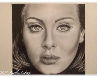 """realistic pencil portrait """"Adèle"""" graphite"""