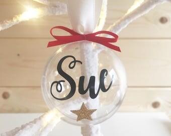 Personalised bauble, personalised christmas bauble, name bauble, memorial bauble, personalised gift, fillable bauble, bauble, custom bauble